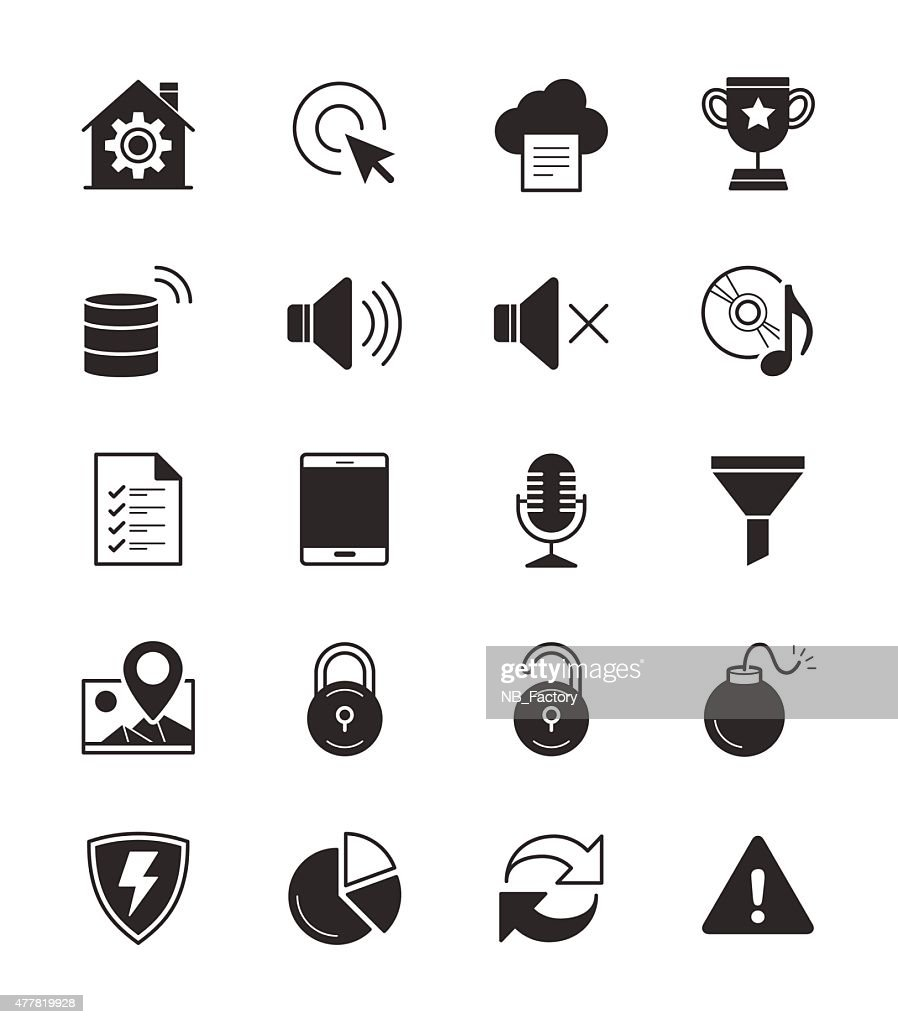 General icons Set 3 on White Background Vector Illustration