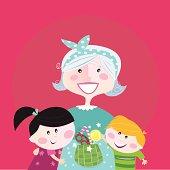 Generation family portrait: Grandmother with grandchildren