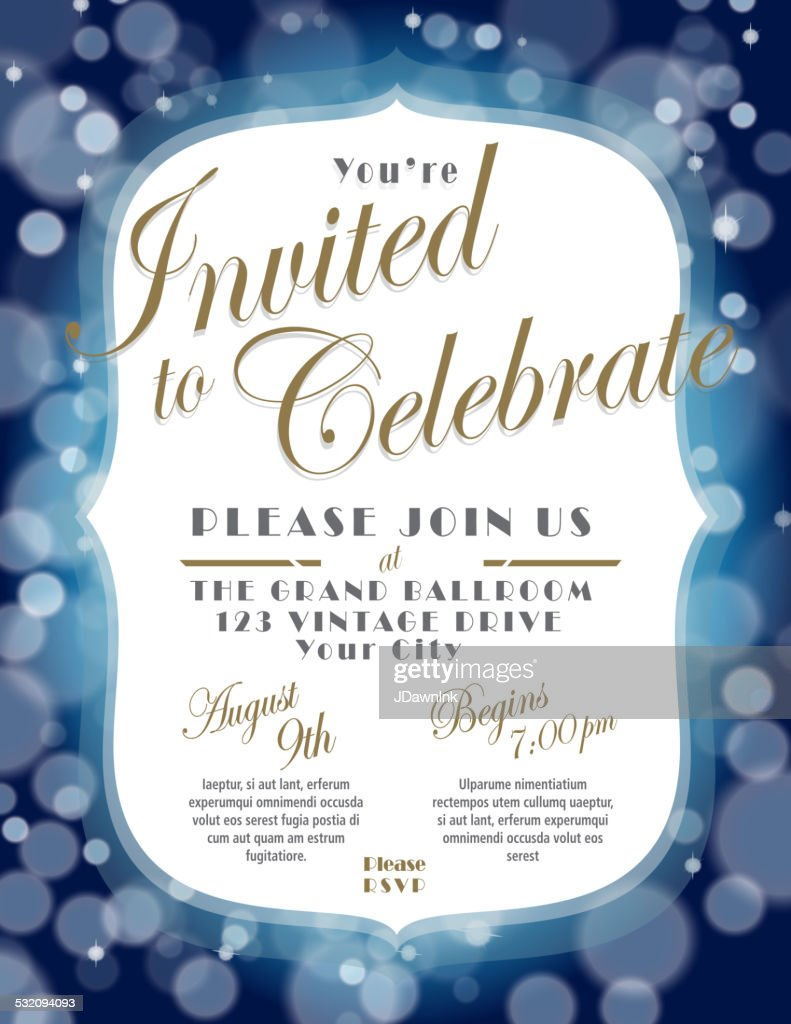 generic blue and gold invitation template design vector art getty