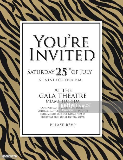 ilustraciones, imágenes clip art, dibujos animados e iconos de stock de genérico marrón tiger piel animal print diseño de plantilla de la invitación - leopardo