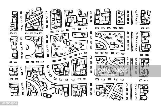 ilustrações, clipart, desenhos animados e ícones de comum mapa da cidade com vista de cima de desenho - mapa de rua
