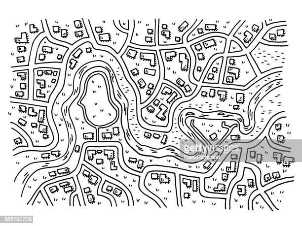 generische stadtplan mit fluss-zeichnung - stadtplan stock-grafiken, -clipart, -cartoons und -symbole