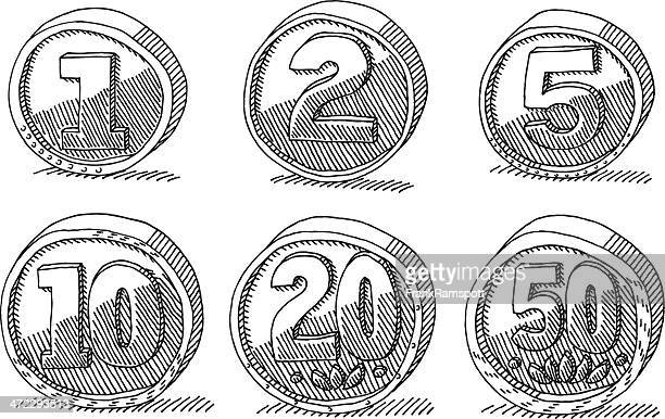 Generic Coins Money Set Drawing