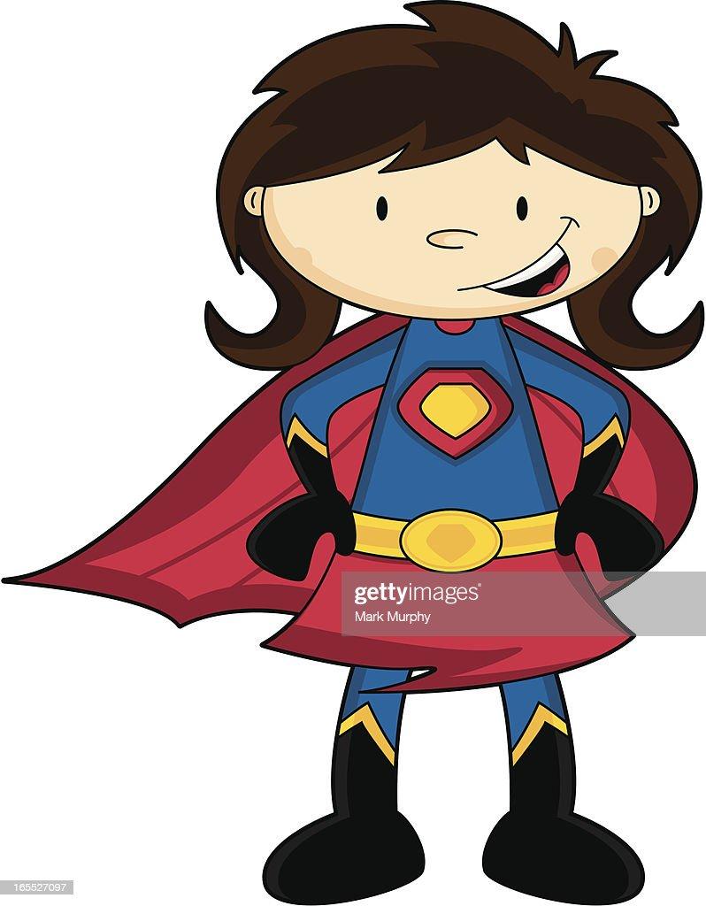 Generic cute brunette cartoon super girl character