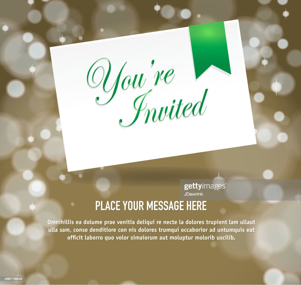 Generic Gold And Green Invitation Template Design Stock