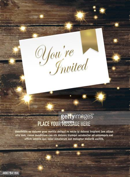 Generic  gold invitation on rustic wood with sparks template design