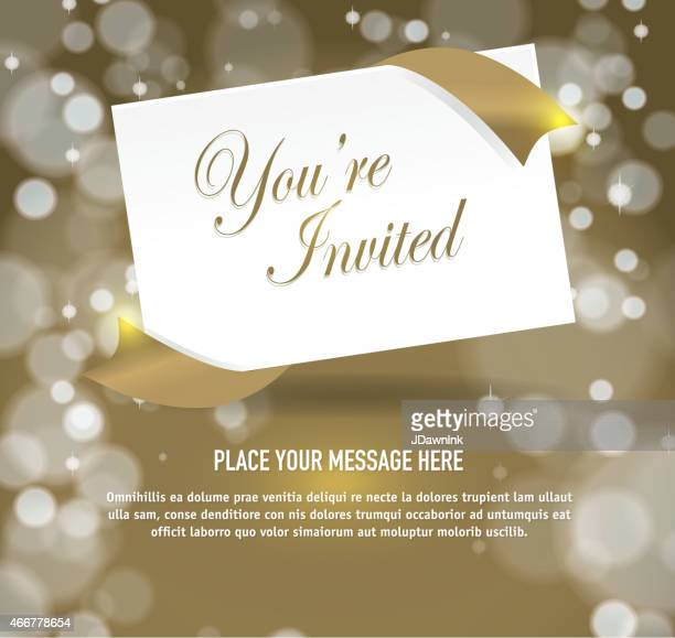 Generic  gold invitation template design with envlope on angle