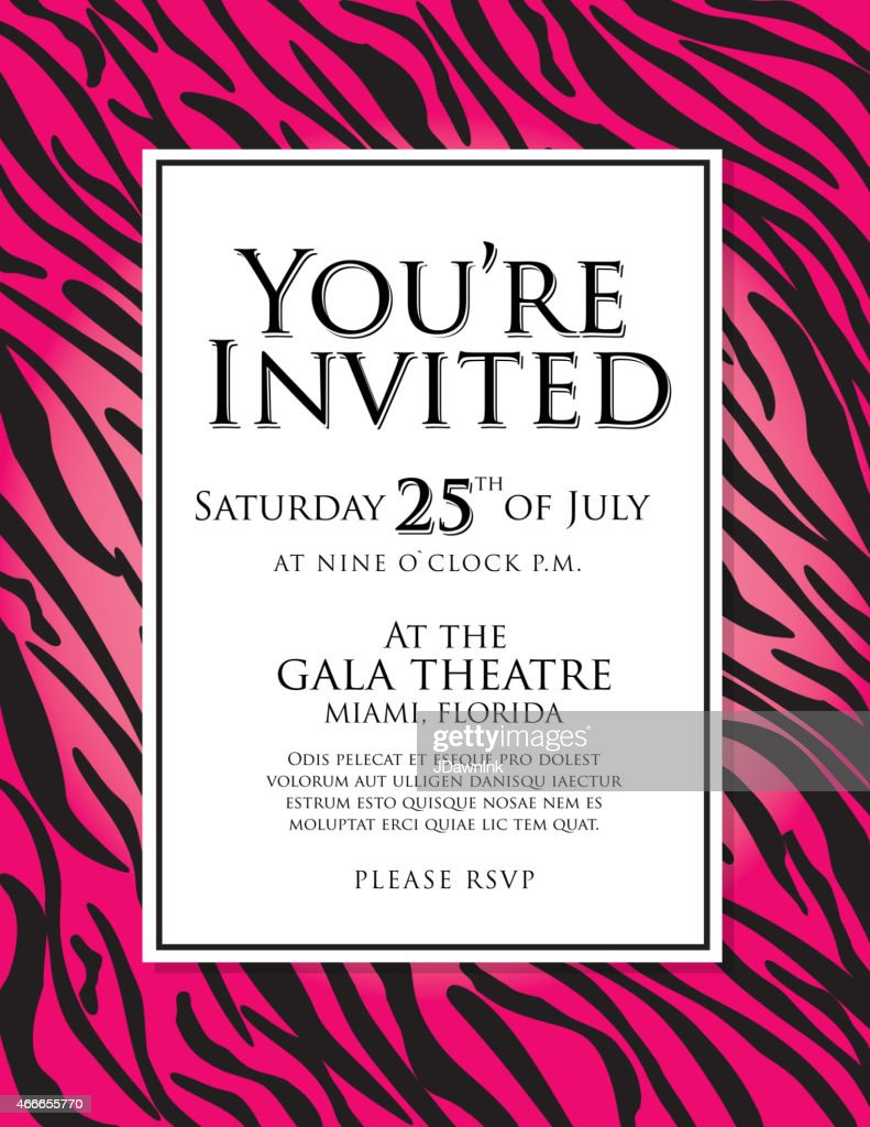 Generic hot pink zebra animal print invitation design template generic hot pink zebra animal print invitation design template vector art stopboris Gallery