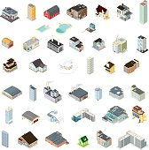 Generic Isometric Buildings Icons.