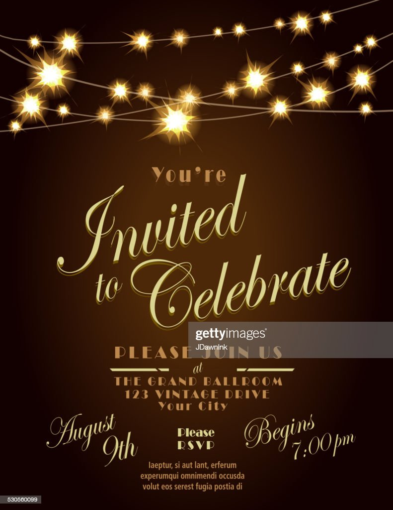 generic lights dark brown invitation design template with string