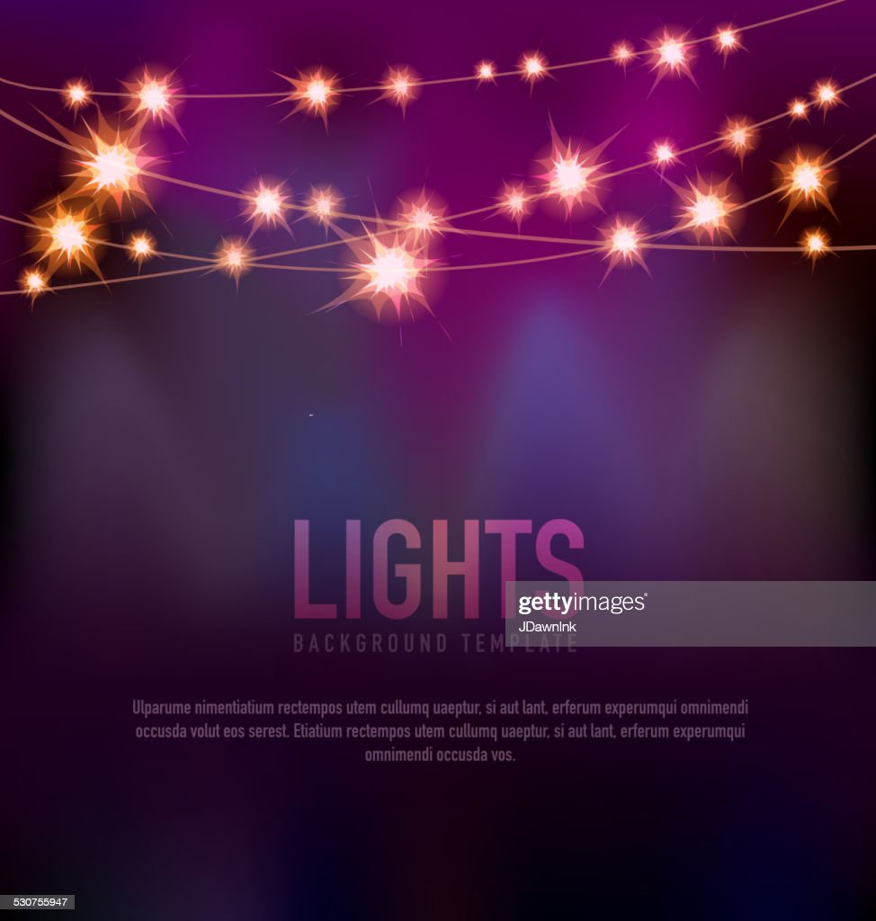 Generic Lights design template with string lights black purple background