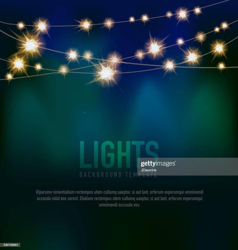 Generic Lights design template with string lights black teal background