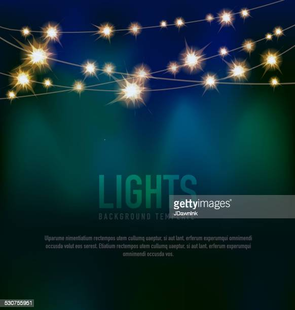 generic lights design template with string lights black teal background - glowing stock illustrations