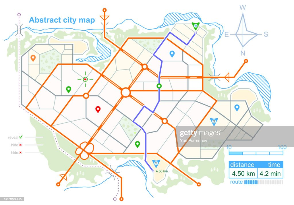 Generic map of an imaginary city, with the specified road route. Scheme of town streets on the plan. Navigation icons and GPS dashboard. Stock vector