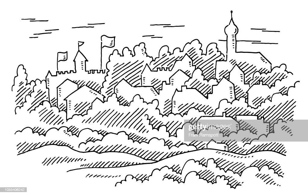 Generische alte historische europäische Stadt-Zeichnung : Vektorgrafik