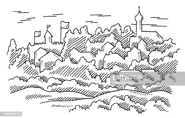 Generische alte historische europäische Stadt-Zeichnung