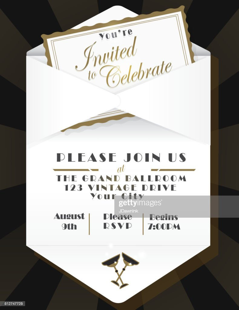 Generic opened envelope invitation design template black background