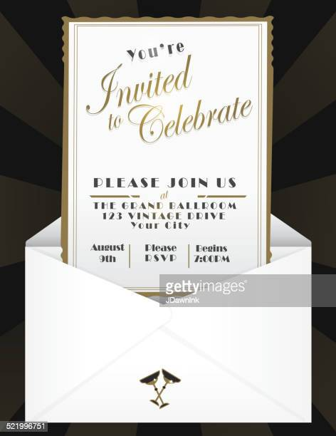 generic opened envelope invitation design template - envelope stock illustrations, clip art, cartoons, & icons