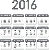 2016 Generic printable calendar design template layout