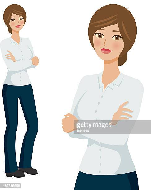 Generic Uniform Professional Woman Icons, Full Body and Waist Up