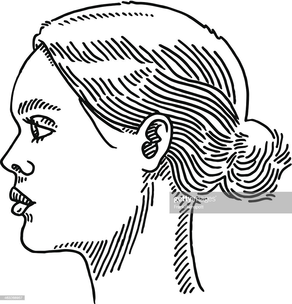 Generic Woman Portrait Side View Drawing : stock illustration