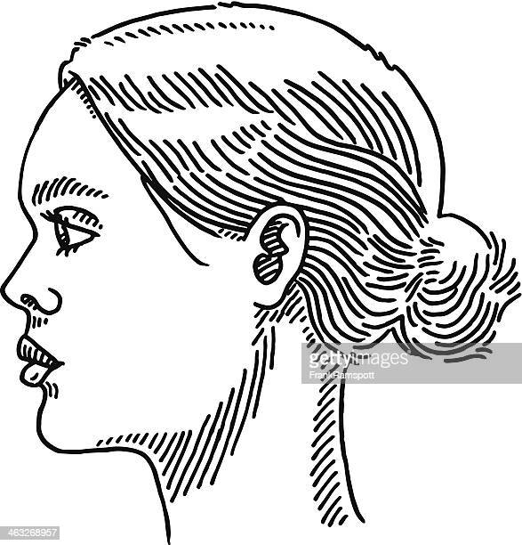 Generic Woman Portrait Side View Drawing