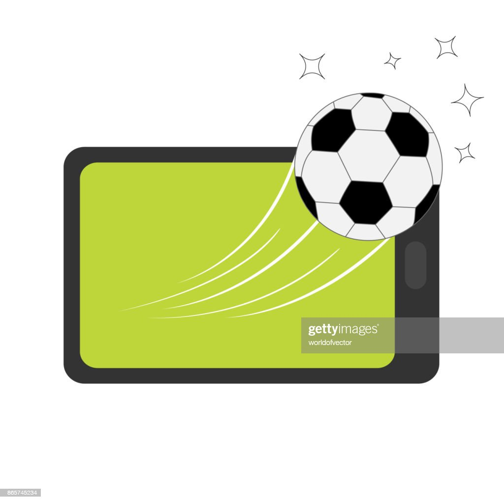 Genering tablet PC gadget. Tab with blank screen. Soccer ball flying from touch screen. Star shining speed shape. Green grass field. Flat design. White background. Isolated.
