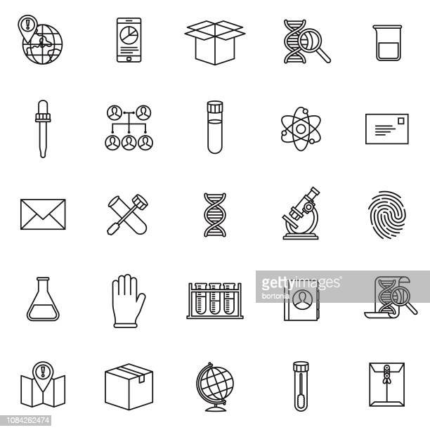 genetic dna testing icon set - dna stock illustrations