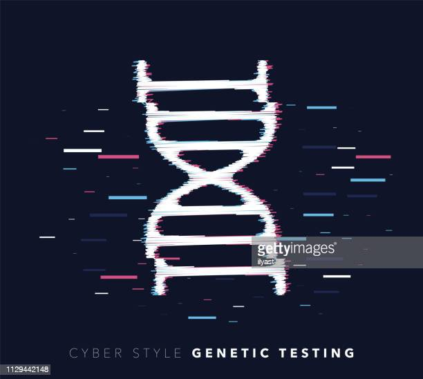 Genetic Testing Glitch Effect Vector Icon Illustration
