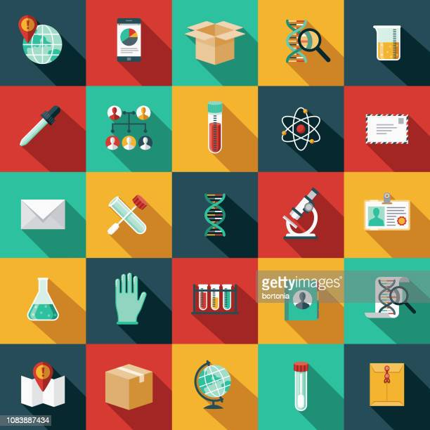 genetic testing icon set - science stock illustrations