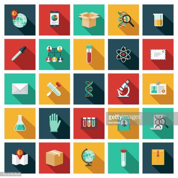 genetic testing icon set - molecular structure stock illustrations