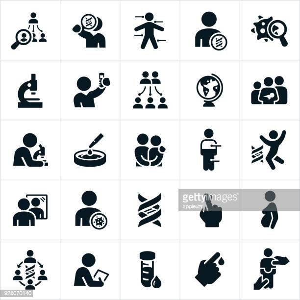 genetic testing icons - the human body stock illustrations