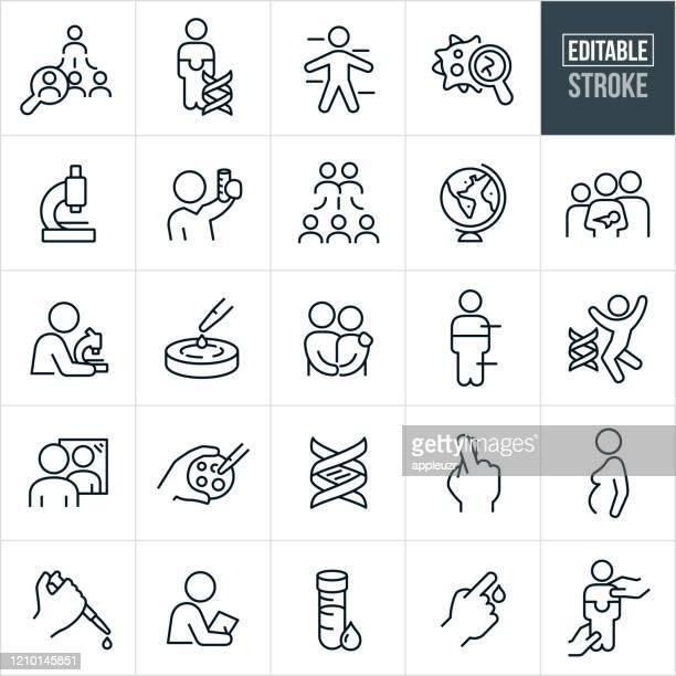 genetic testing thin line icons - editable stroke - genetic mutation stock illustrations
