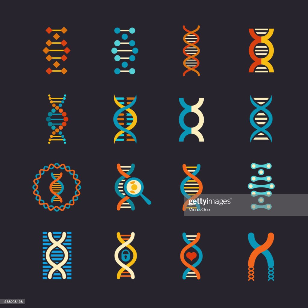 DNA genetic vector flat icons set