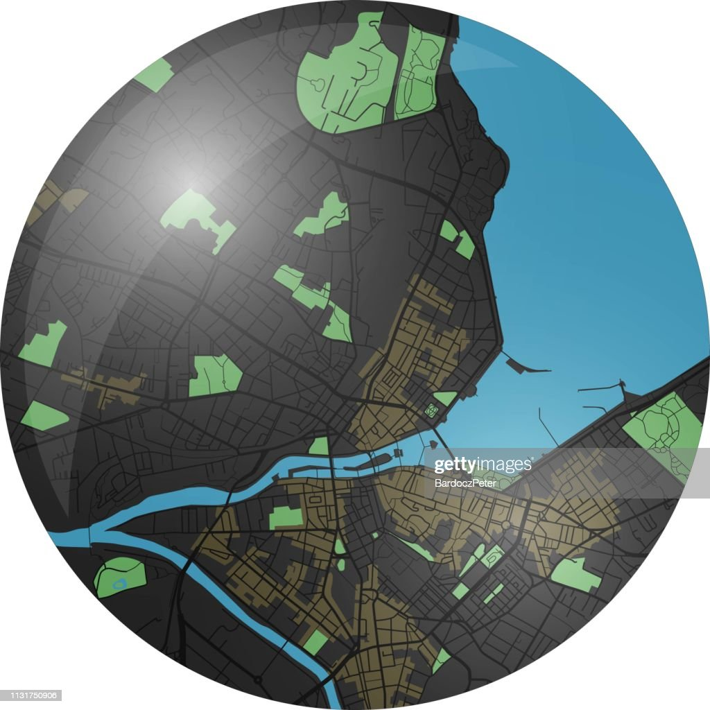 Geneva vector map button with dark colors.
