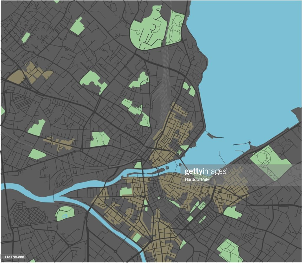 Geneva vector map with dark colors.
