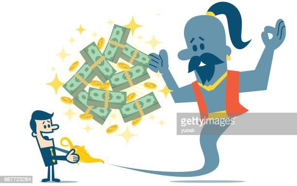 genie and dollars - millionnaire stock illustrations, clip art, cartoons, & icons