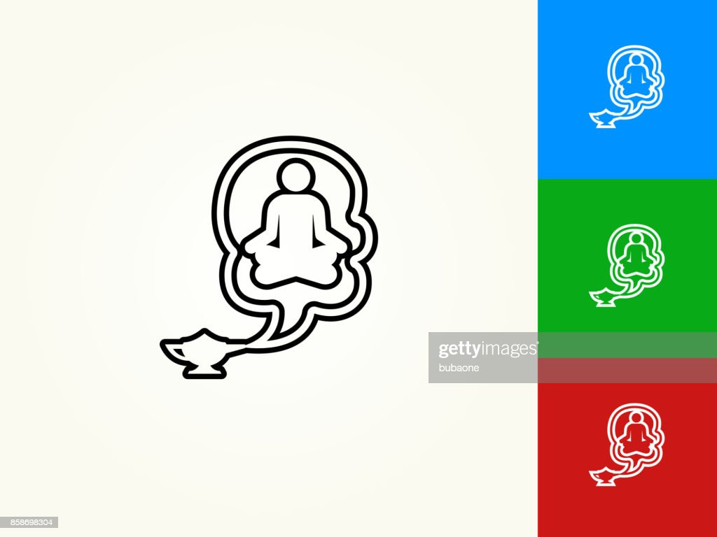 Genie In A Lamp Black Stroke Linear Icon : Vector Art