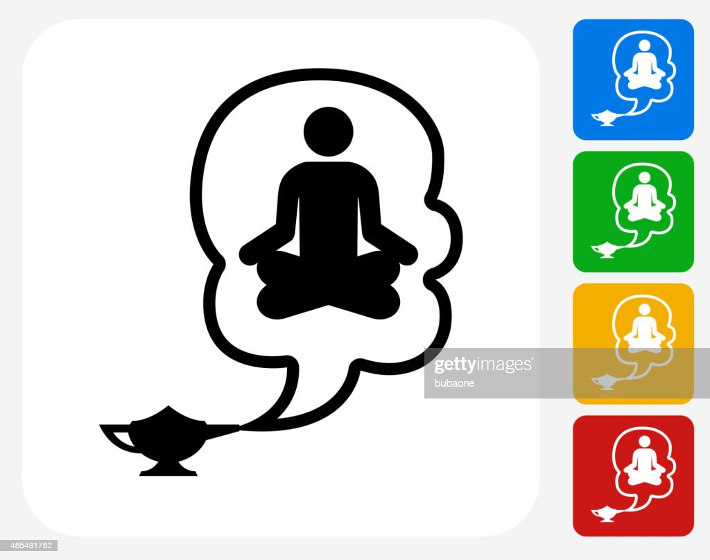 Genie In A Lamp Icon On Flat Color Circle Buttons Vector Art ... for Genie Icon  103wja