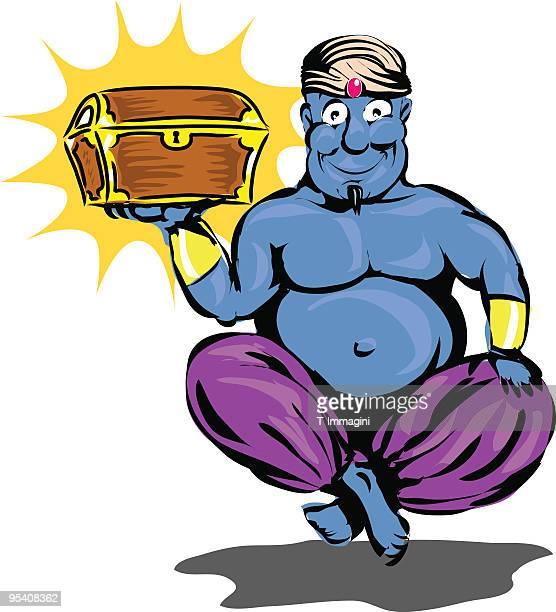 genie of the lamp illustration - arabic script stock illustrations, clip art, cartoons, & icons