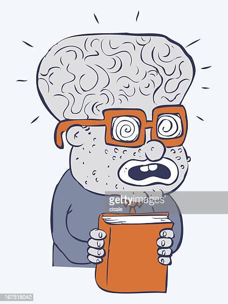 desenhos animados e ilustrações de stock de cientista maluco getty