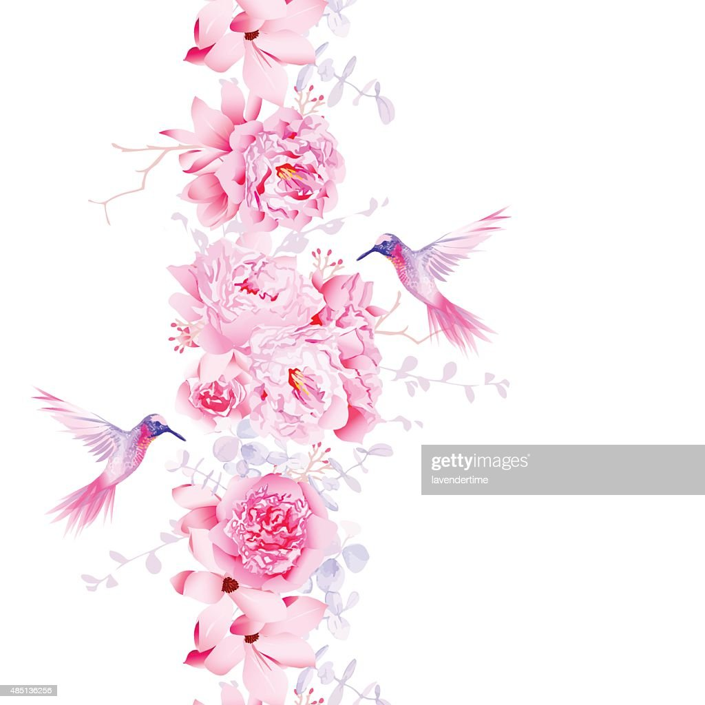 Gentle camellia, peonies and magnolia flowers