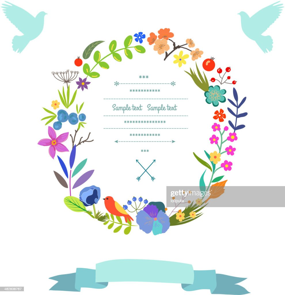 Gentle floral decor in vector