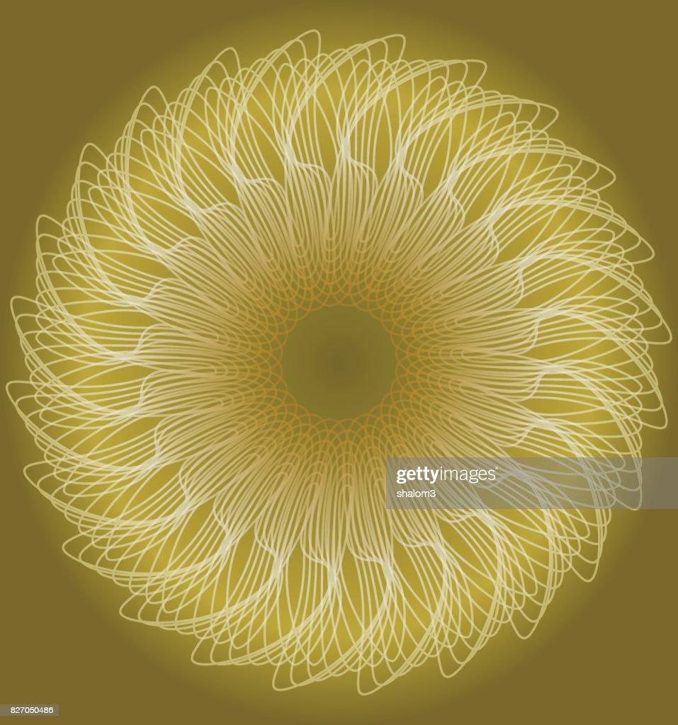 Gentle patterned golden circle shape in fractral style, fantasy flower shape, low contrasting background