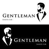 Gentleman beard club. Hipster in tuxedo.