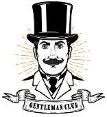 Gentleman club. Man head in vintage hat. Design element for label, emblem, sign, poster, label.