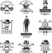 Gentleman club. Vector badges set