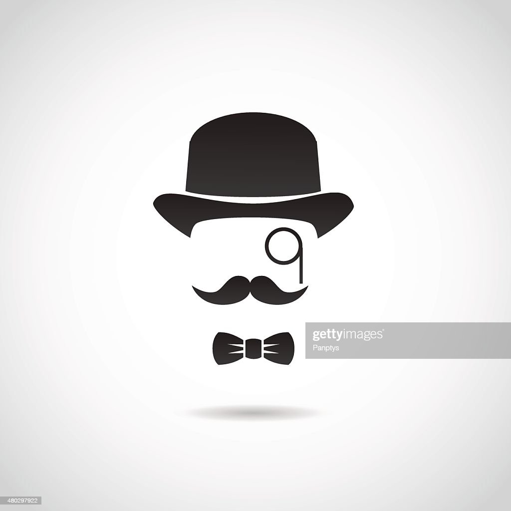 Gentleman face. Icon isolated on white background.