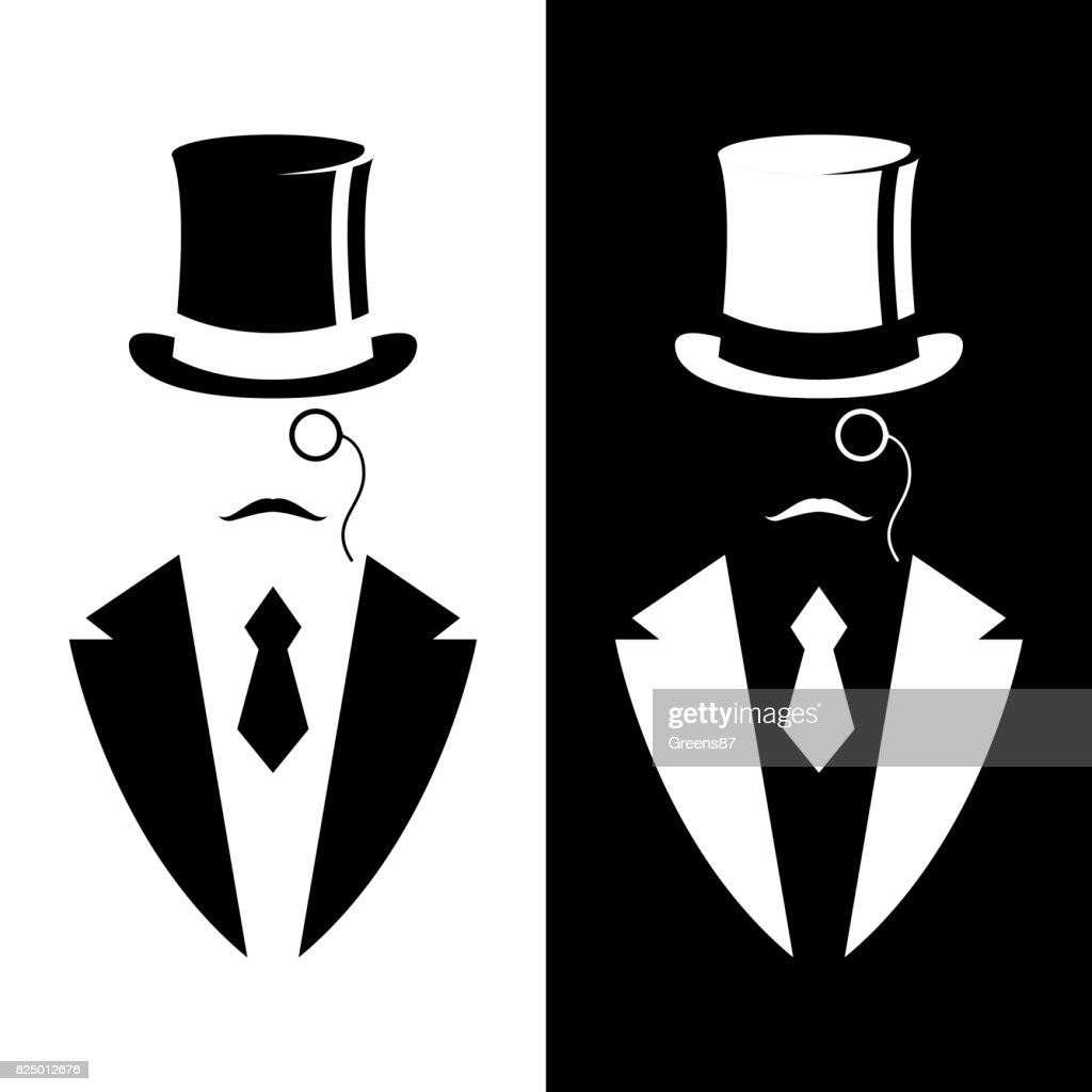 Gentleman in tuxedo and vintage hat. Black and white design. Vector illustration.