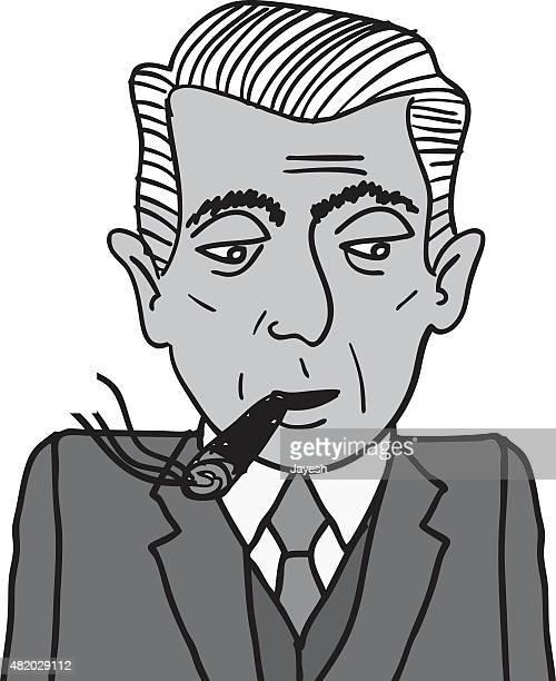gentleman smoking a cigar - cuban ethnicity stock illustrations, clip art, cartoons, & icons